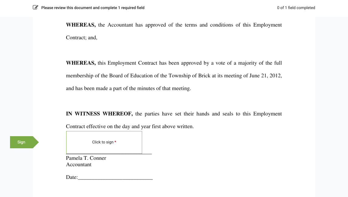 Signable fields highlighted - eSignature in Sage HR