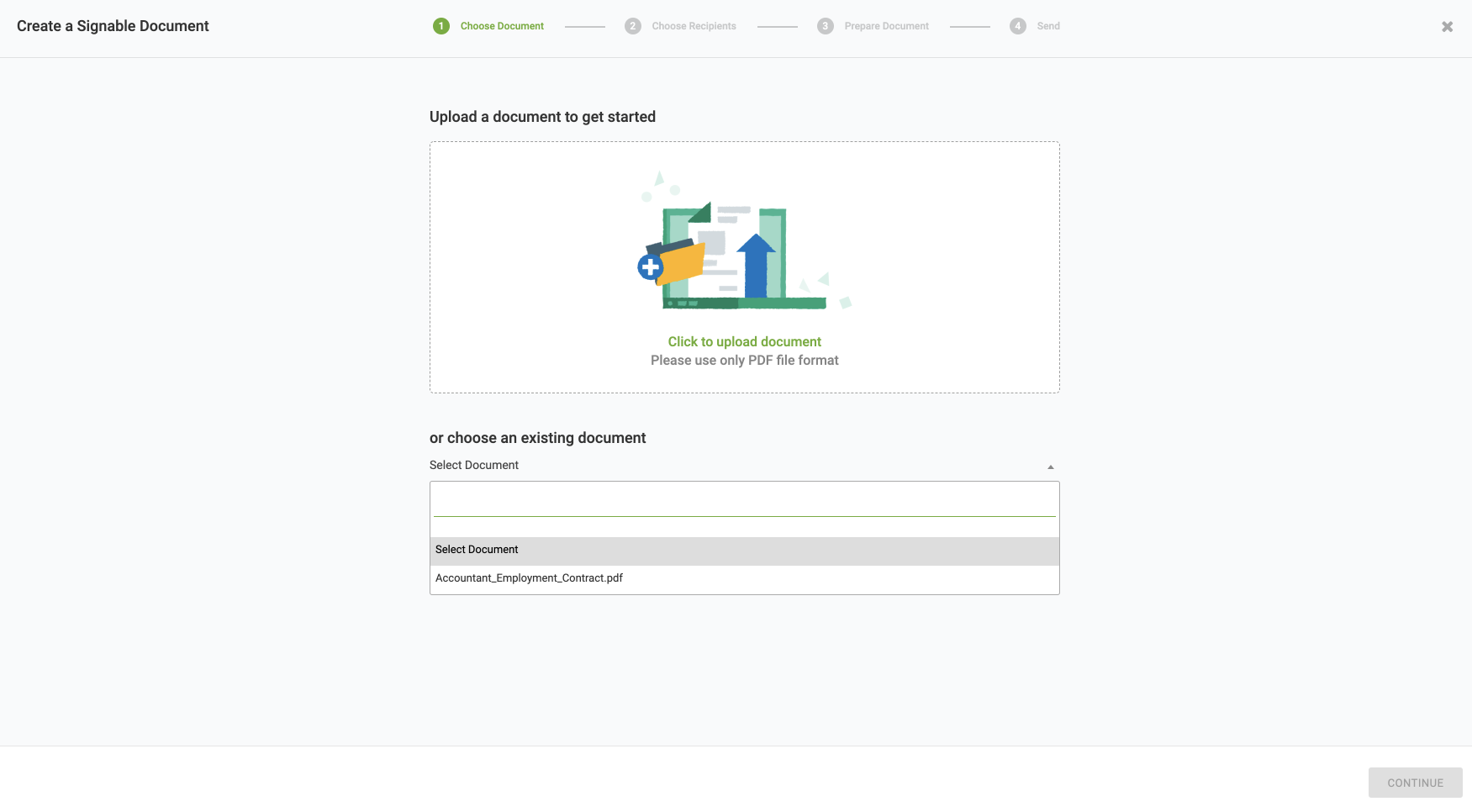 Click to upload a signable document